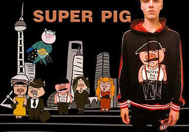 春节pop手绘海报猪年