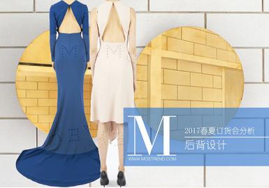 本季系带式后背的设计点大肆流行,有11个品牌使用;有9个品牌使用露背的设计元素,显现女性的性感和迷人;深V型后背的设计5个品牌运用到;拼接的设计手法有6个品牌运用到,其中较多的是长裙,既优雅又能凸显女性的曲线美;有4个品牌运用开叉式的后背设计;有3个品牌运用交叉式背带设计。