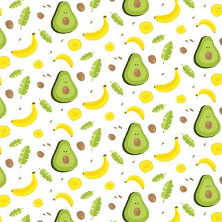 矢量圖 eps 牛油果 滿身圖案 香蕉 休閑風 清新風