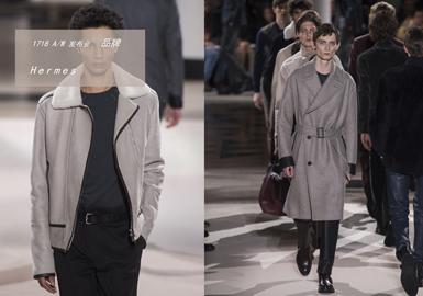 Hermes2017秋冬男裝系列中,本季設計師依舊秉承商務與休閑的本質,實用主義在如今光怪陸離的時尚圈獨樹一幟。本季秀場上大量出現了絲絨材質的西服套裝和風衣,考究的面料、剪裁和用色都讓Hermes男人們看起來紳士雅致,讓人沒有抵抗力。高領毛衣、毛氈包袋、波點圍巾等元素將會在新季引領男裝風尚。實穿至上的基準,讓經典傳承延續,這就是愛馬仕男裝為我們帶來的紳士雅致!