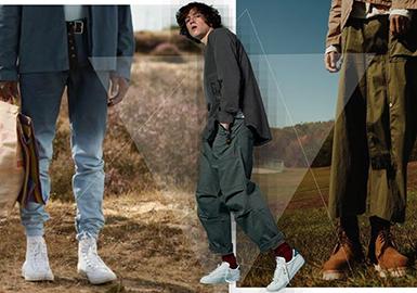 2018春夏男装订货会,在色彩占比中,黑白灰占比在75%左右,彩色系中,蓝色系占比较大在11%,另外红色系和绿色系也有比较突出的表现 ;在款式占比中,商务类长裤和牛仔裤都各占比较大的,暗黑系款式受到一部分小众品牌的特别宠爱,数量也呈现上扬的趋势;15个重点品牌中,裤类占比最高的是Dsquared2。