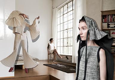 <APM53>女装--解意棉麻之褶裥层叠与织带调节(细节)