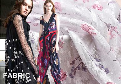 在18早秋秀場系列中,輕盈的提花和唯美的印花面料多運用于連衣裙面料。清晰的碎花印花、時尚的花卉印花采用飄逸的材質作為印花基底,幾何、波點及花卉提花剪花也以新的形式出現,并賦予它們新意。無論是連衣裙時尚剪裁還是潮流感的款式設計,都與面料完美結合。