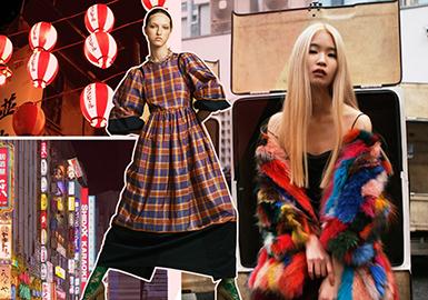 在日本東京新宿市場中,服裝整體款式結構變化較小,細節上的拼接是一大重點之一,如材質拼接、圖案拼接等;不可或缺的女性化代表元素荷葉邊、蕾絲、薄紗均以不同的形式重新演繹;在大熱的運動風浪潮下,除了條紋、網眼等運動元素以外,運動夾克、風衣等也是早春必備單品。