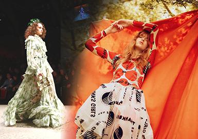 在2018秋冬发布上,丝绸缎面面料仍然与印花紧密结合着。印花的多元素被贯穿运用,结合巴黎PV展所发布的最新花型面料,把女装精致度大幅度提升,无限放大了都市女性率性的柔美精致的都市时尚品味。