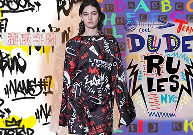 2020春夏女装家居服图案趋势--潮感字母