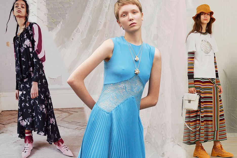 在2019早春T台中连衣裙的种类繁多,其中最为亮眼的是简约式运动风,而在简约风格下涌现出很多形式的设计,有强调彩色条纹两件式设计、运动感条纹与印花结合、运动风与蕾丝拼接、薄透式背心裙等设计都为简约风格注入动感新活力。