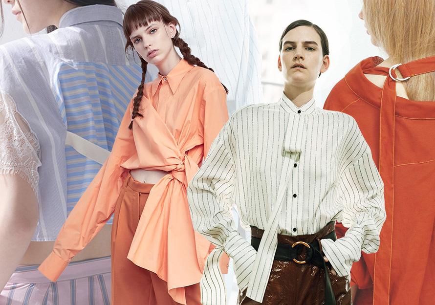 2018春夏中淑衬衫市场,最为亮眼的设计主要体现在:莹然翩翩的蕾丝拼接装饰、解构门襟的叠搭效果、孑然运动感受的简约运动风、条带撞色滚边衬衫、极致简约的白衬衫、解构拼接的条纹衫、攀肩附背的肩攀设计等都带来新的设计趋势。