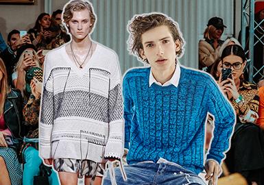组织针法在毛衫款式上的运用设计不仅是基础也是重点,2019春夏男装毛衫T台细腻针法的运用精彩纷呈,值得关注。