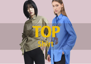 一月的款式库中女装衬衫的款式以简约中淑为主,解构是应用最多的工艺,图案以格纹条纹为主。