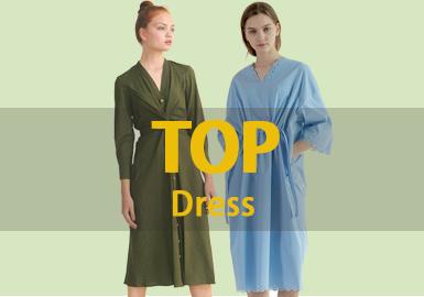 1月女装连衣裙的款式库以棉麻风格为主,廓形以宽松的H型居多,最受关注的工艺是抽褶。