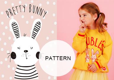20/21秋冬女童童装图案图案趋势预测--可爱兔子