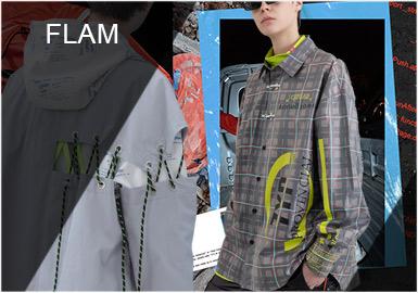 "F.L.A.M成立于2015年8月18日,是来?#38498;?#24030;的服装品牌。F.L.A.M取自""film、life、art、music""是希望年轻人能够打开自我,追求真正?#19981;?#30340;事物。F.L.A.M经常会采用大量的复古撞色元素,保持品牌的街头风格和over size廓形,用料方面也依旧保持了 FLAM 一贯的高品质。"