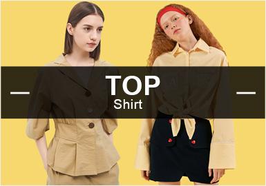 在2月的款式库中,女装衬衫以简约款式为主,棉麻解构也是大趋势之一。格纹是衬衫最常用的图案,另外随着70年代风的崛起,复古感的印花也逐渐受到更多的关注。