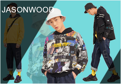 ASONWOOD成立于2000年,是一家以设计和销售牛仔休闲系列服饰、鞋品、包及配饰为主的品牌公司。本季的服装多采用清新抑或跳跃的色彩,舒适、宽松的造型打造休闲街头风。JASONWOOD致力于打造属于年轻人的时尚品牌。