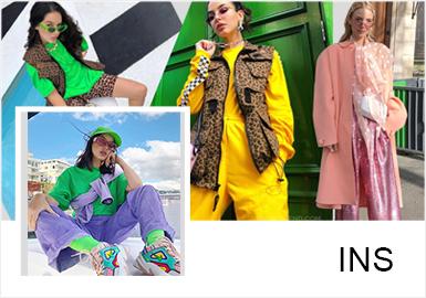 此篇主要概述炫酷街潮风款式风格及搭配,主要以T恤、夹克、潮感套装款式进行展开,色彩多以炫彩色调为主。