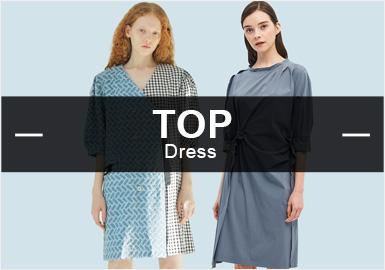2月的款式库中,连衣裙以中淑和棉麻两大风格为主导,注重舒适的H版型。