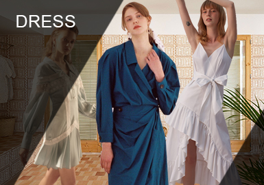 连衣裙任然是重要的单品,占服装中最大的比重。从实用款到时尚款,连衣裙适合何种场合着装。聚焦细节和实用活力感都是彰显新意额关键。中长款的连衣裙将是本季的重点,对吊带裙、衬衫裙都适用。