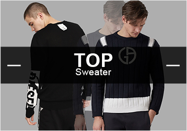 POP款式大數據顯示,3月男裝毛衫TOP款中偏向商務休閑風格的款式占比最多,時尚休閑緊隨其后,往季熱門的運動風格則下降明顯;字母和幾何是需要重點關注的圖案元素,工藝手法豐富多彩,其中針法、提花、貼布為三大重要工藝,更加講究細膩高級的質感。