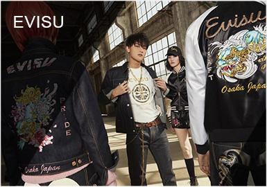 "EVISU 于1991年在日本大阪创立,是乾玺贸易(上海)有限公司的主?#35745;?#29260;,其名字的灵感来自日本神话中的海神EBISU惠比寿(えびす),是一个高端牛仔品牌。品牌最初每天最多只能制作约十四条牛仔裤,并手工在每条牛仔裤的后袋绘上海鸥图样,亦因为这份对牛仔裤的热爱及对细节一丝不苟的态度,令EVISU很快被有着极高要求的日本时尚界人士所喜爱,而且更?#30772;?#20102;一?#19978;?#21367;全世界的古着牛仔裤热潮。当时,EVISU成为了""后501年代""的代表,成为牛仔裤史上的一个经典。"