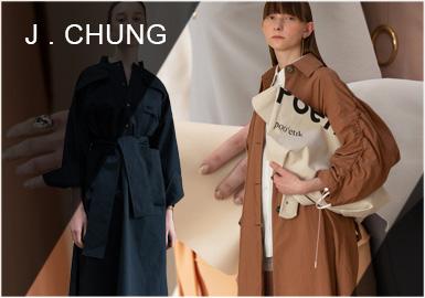 J.CHUNG由设计师J.Chung(???)创立。冷都市风融合自由的感觉,使用简约的设计,打造出优雅细节的时尚服饰品牌。
