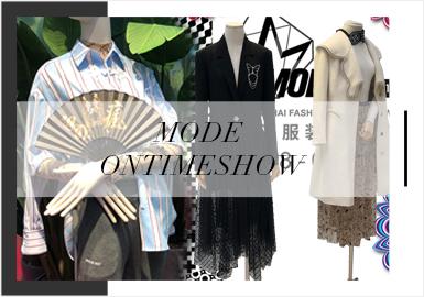 每一季上海時裝周期間,也會同時啟動上海服裝服飾展,以打造亞洲最大訂貨季為目標,Mode 聯合時堂、Ontimeshow、DFO、Alter、Tube、Not Showroom 六大各具特色的時尚貿易平臺,形成時裝周商貿體系,集聚來自 30 多個國家超過一千一百個服裝配飾品牌,強調遍布全城、優勢互補的訂貨會網絡。本次19/20秋冬訂貨會中脫穎而出的服撞風格以簡約中淑、摩登高街、為主,同時運動風、少淑風次之,且各風格之間的界限逐漸在模糊中明朗化,將服裝的功能性、實用性、文化藝術傳播的氛圍通過款式更深入的演繹出來。