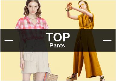 4月的女装款式库中裤子的风格以简约中淑为主,锥形裤是当下最流行的廓形,裤子的工艺较为简单以裤头的抽褶为主。