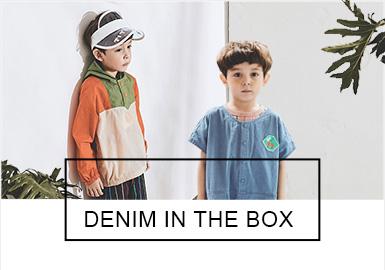 DENIM IN THE BOX與深受大眾喜愛的韓國品牌Blue Dog、minkmui同屬一家公司。19夏季的DENIM IN THE BOX重點延續了蔬菜,動物等元素,明快的色彩搭配搞怪的手繪圖案,高級灰的使用讓產品更具品質感,適合嬰幼童穿著。