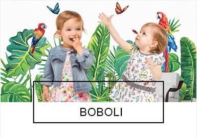 时尚设?#21078;?#31461;装品牌Boboli来自于西班牙–巴塞罗那,1984年成立?#20004;?#24050;有30多年。是西班牙童装市场的著名品牌。Boboli希望坚持孩子的天性,崇尚大自然,对生活充满好奇与幻想,喜欢接受新生事物、敢于冒险,富有爱心与活力,19SSBoboli将大自然彩虹、植物花卉、动物、海洋等元素融入简约?#30446;?#24335;童趣时尚而又百搭。