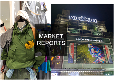 2019春夏韩国男装市场在色彩方面出现大量的绿色系单品,在其本土大受欢迎。而风格方面以个性街头、酷感暗黑、扎染以及时尚机能风为主,同时印花图案元素和拼接、金属辅料以及拉链等辅料进行细节点缀。整体走向紧跟时尚潮流。