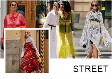 隨著人們越來越喜歡通過服裝表達自我內在特質,在2019春夏的街拍中,連衣裙作為重點單品,以少女、叛逆、展現自我、舒適等特點脫穎而出,且在這一季街拍中,連衣裙的長度上會以長裙為主,造型上多通過圖案、面料材質等表現連衣裙的多樣性。