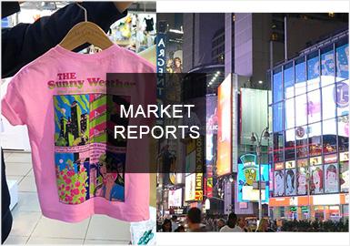 熒光色是本季韓國童裝市場最為搶眼的色彩,熒光黃、玫紅、綠色和藍色互相搭配,通過文字和圖案呈現出跳躍、充滿活力的視覺感受,也帶來十足的回頭率。夸張怪誕的人物插畫圖案依然盛行,但從色彩上更偏明快的顏色。金屬色也是本季不可缺少的搭配亮點,充滿未來感的錫紙光感給人與眾不同的潮酷感。