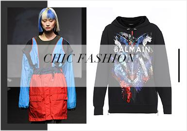 从2020春夏订货会中可见,新一季的T恤,卫衣,夹克衫在原有的设计手法上进行大胆撞色,在FILA、Givenchy等品牌中无帽高领卫衣以拉链、帽绳为实用设计重点,引领新一季的时尚运动风。截短T恤以拉长身长比例的优势,在订货会中深受追捧。新一季的大面积炫彩图案给服装多了一份趣味性。