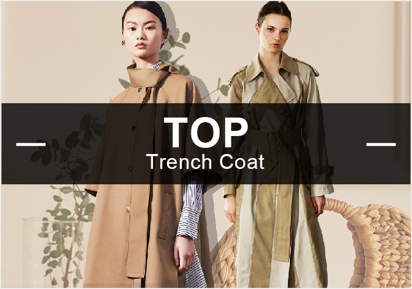 7月女裝風衣的款式庫以簡約中淑和棉麻風為主,少淑女風也有所提升;廓形以合體與修身型居多;拼接是運用最多的工藝,壓褶有明顯上升的趨勢。