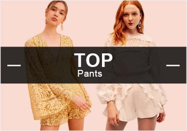 6月的女裝款式庫中褲子的風格以簡約中淑為主,連體褲是當下最流行的廓形,褲子的工藝較為簡單以褲頭的褶皺為主。