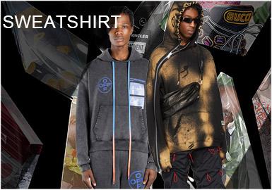 2019SS設計師款衛衣單品在照片印花、字母logo、扎染漸變以及拼接貼布等圖案工藝的處理十分新穎。而對于細節的處理也是增加了衛衣款式的亮點設計,可參考性極強。