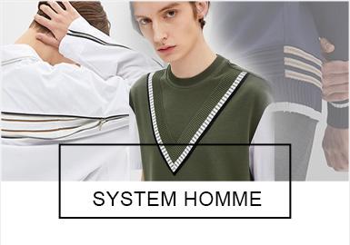 System Homme是韩国汉纤集团旗下轻商务男装品牌,用休闲来诠释职业男性的城市生活风尚,都市时尚之余更添加年轻与自由的感性元素,以高级的材质和适当的流行趋势在细节上加味,力求达到合身俏爽的果敢设计。2019春夏男装在保持年轻商务感的同时,针法、拼接、用色等手法运用更新颖、灵活。