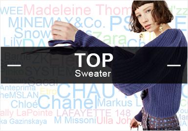 TOP50女裝毛衫國內零售市場關注品牌中,簡歐中淑依舊占主要占比,達到52%左右;現代民俗占比最少,僅6%;而無論青春甜美少淑女風還是優雅中淑,占比呈現上升趨勢,整體的淑女風格占比達42%,這也與法式優雅風的刮起有一定聯系,未來這一風格會繼續影響毛衫行業。