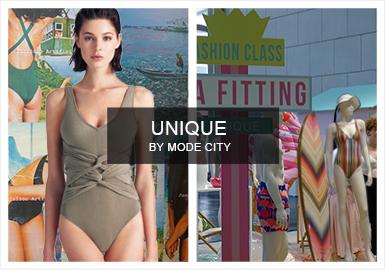 作为老牌内衣展会,UNIQUE by Mode City 在本季将焦点转移到泳装系列,舒适且便于穿着的造型仍然主导着本季展会。巴厘岛风情、编制、镂空、拼接元素以及婚礼派对为本季要点。
