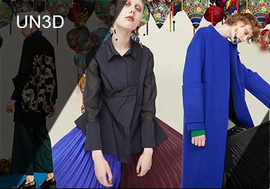 UN3D的品牌名称来自于三个概念的反动,分别是UN STANDARD,UN SIMPLE,UN SIMILAR。UR在英文中有否定之意,设计师荻原桃子希望藉由UN3D表现对于时代、流行、常识与固定概念所保持的好奇态度,并将自由奔放的个性与情感反应在衣着设计中。