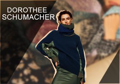 1989年,设计师Dorothee Schumacher在德创立了其同名品牌,设计师将其独特的时尚理念?#22836;?#23500;的生活融入到了设计当中,主张塑造优雅、自信、富有活力女性美。Dorothee Schumacher通过解构、混搭等手法来塑造当代都市独立、自信的女性形象。这?#24425;?#24471;它获得了如今在时装界的地位,并拥有了一大批女?#36816;乐?#31881;。