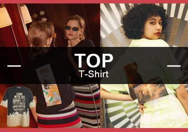根據8月份T恤數據分析,可以看出時尚休閑風格女裝占比達44%成為風格占比中最重要的風格之一,先鋒潮牌、少女微潮則占總體的18%、25%;而T恤最注重圖案變化,尤其是字母在圖案占比高達37%。同時扎染、拼接是今年相對注重的工藝細節點。