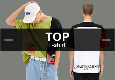 8月份款式庫中T恤單品流行方向分析,與上月相比,時尚休閑類單品依舊占據市場主導地位。運動休閑類與上月持平,街頭潮牌類有一定的上升趨勢。圖案類還是以字母、動物和人物元素為主,且有一定的上升。在工藝方面印花占據主導地位,拼接其次。假兩件長袖T恤可以多加關注,文字、圖案、口袋等設計以更加多元化的形式呈現,發揮更大的作用及價值。