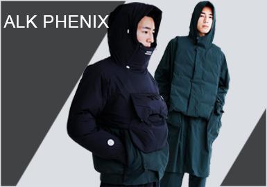 alk phenix为源自老牌户外品牌Phenix的时尚支线,由日本设计师上出大辅亲力操刀。alk phenix虽作为支线,却同样承袭了Phenix以机能主导的最大特点,同时却比主线更加时髦前卫。品牌发布其全新2019秋冬系列Lookbook, 譬如胸前袋扩充便于收纳的Shu Anorak,裤袋随需要变换深度的Cargo Pants,反光素材的zakoche小物挎包等都在轮廓设计上显得更为精进,延续了日本人精致的生活收纳智慧。全系列中随处可见的高机能面料的花样组合与运用,重新为山系服注入了城市灵魂。