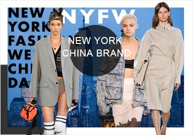 """在本次2020SS纽约时装周中,天猫联合多个中国原创品牌在纽约时装周上举办发布会,例如潮流风的""""PEACEBIRD"""",都市游侠风格的""""RIZHUO"""",结合东西方美学的""""I-M-CHEN"""",国民""""老""""品牌的""""三枪"""",以及具有强烈设计师风的""""SONGTA""""和""""XU ZHI"""",除此之外还有以ICY平台作为合作商的""""古服回朝""""系列,周晓雯(Hiuman)、夏乙旗(Leaf Xia)、谭凤仪(Fengyi Tan)、徐一卫(Eva Xu)也将同自己品牌的系列在纽约时装周发表。"""