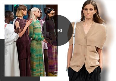 """于1997年诞生的Tibi是设计师兼创始人Amy Smilovic 的心血结晶,凭借""""休闲时尚""""这一个简约却有力的设计理念晋身为美国数一数二的摩登品牌。2020春夏的最新发布系列重点传达一种无限可能的信念,它复杂而丰富、对立又同步;整体设计现代性中伴随着经典的扭曲,大胆的轮廓表达生活的豁达,色彩在新季则选择了充满城市风格的新鲜调色板;2020年春天是""""现在""""的缩影,同时也给未来留下了想象的空间。"""