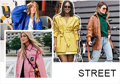 街拍像是記錄一場流動時裝秀,被拍攝的對象可能是模特,時尚博主或只是路人,但他們與眾不同的特色裝束卻透出不凡的穿衣品位,是設計師尋找色彩和搭配靈感的重要來源。對于皮革皮草行業而言,2019早秋ins博主造型以休閑風格為主,整體穿搭色彩鮮艷、飽和度高,以西裝、工裝外套和風衣為重點單品,服裝注重微妙廓形變化和呈現高級皮革質感,塑造出隨意,舒適,簡潔又精致的造型。