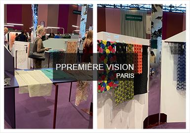 本屆Premiere Vision20/21秋冬面料展中,蕾絲提花面料著重強調想象力和自然之間的關聯,從植被中提取靈感使蕾絲提花更具夢幻風格。工藝上更加關注細節設計,在經典工藝的基礎上結合3D技術將蕾絲面料推向新的視覺高度,為新一季女性柔美風提供更多的創意靈感。本次展會中,珠片蕾絲面料涌現,以不同的排列方式展現出珠片繡的高級感,蕾絲面料以其意趣性和多樣性展現新面料的朦朧魅力。