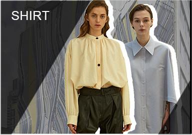 衬衫作为春夏季的重要单品,2020春夏季中以舒适为主同时加入个性化元素或是其它经典细节的衬衫在整体市场上占比较高,改变衬衫保守刻板的同时将舒适感与实用性进行融合。