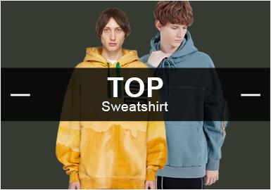 根据POP10月份用户下载量的TOP100男装卫衣数据分析,运动休闲和街头潮牌类风格相对稳定,时尚休闲类卫衣单品比例下降。图案类字母元素上升十分明显,高达10%,而工艺类拼接手法也有小幅提升。
